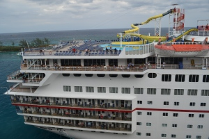 Here's an old Carnival ship that Bill thinks has the appropriate configuration for a proper sail away party.