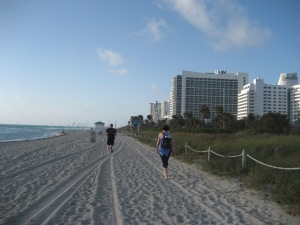 Taking a stroll on Miami Beach