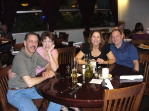 Inside the Marriot's Carrabas, from left to right, Bill, Jane, Deb and Joe.