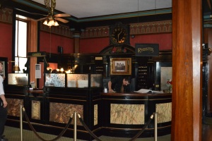registration desk, Cresent Hotel, Eureka Springs AR