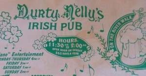 Menu, Durty Nelly's Irish Pub, Riverwalk, San Antonio TX