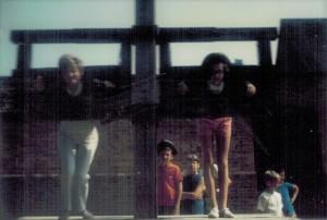 Mom & I in the stocks. Yes I'm the one in the tri-corn hat.