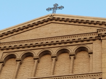 A cross atop the church